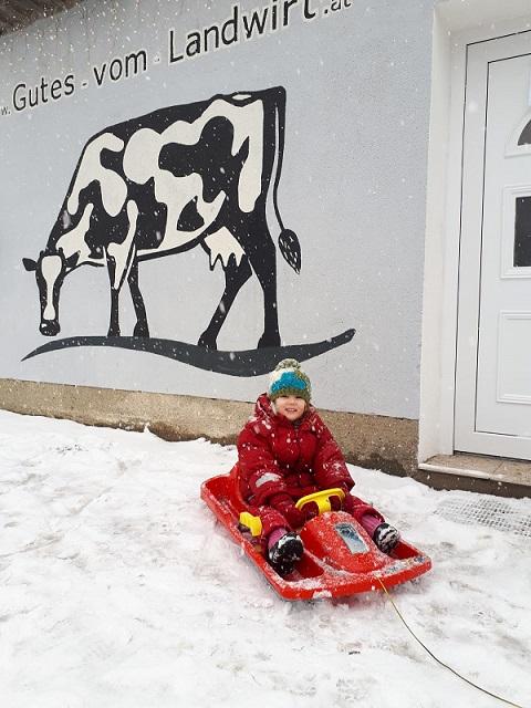Mit Rodel einkaufen im Schnee